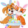 Easter Cat and Dog — Stock Vector