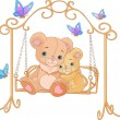Pair of bears on a swing - Stock Vector