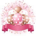 Pink Birthday balloons design — Stock Vector #23662687