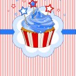 Stock Vector: Patriotic cupcake place card