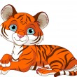 Stock Vector: Resting little tiger cub