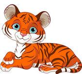 Resting little tiger cub — Stock Vector