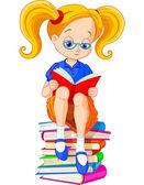 Libro de lectura chica — Vector de stock