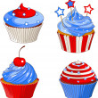 Stock Vector: Patriotic cupcakes