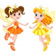 Stock Vector: Two cute fairies