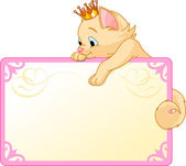 Plaque princesse chat — Vecteur