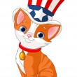 Stock Vector: Fourth of July kitten