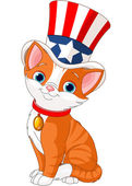 Fourth of July kitten — Vecteur