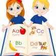 two kids and abc book — Stock Vector