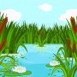 Stock Vector: Pond scene