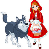 Little red riding hood and wolf — Stock Vector