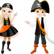 Halloween Pirate couple pointing — Stock Vector