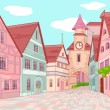 Stock Vector: Little Europe town street