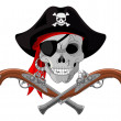 Stock Vector: Pirate Skull and guns