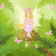 Magic fairy in forest — Stock Vector
