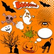 Stock Vector: Halloween Comic elements
