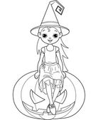 Little Halloween Witch coloring page — Stockvektor