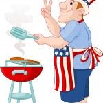 Man cooking A Hamburger — Stock Vector #3061505