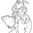 Santa Claus riding on polar bear coloring page — Stock Vector