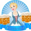 Oktoberfest girl label — Stock Vector #31073689