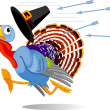 Cartoon Turkey escapes from the arrows — Vector de stock