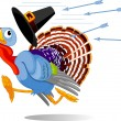 Cartoon Turkey escapes from the arrows — Stock vektor