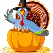 Thanksgiving Turkey in the pumpkin — Stockvektor