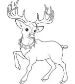 Reindeer Rudolf coloring page — Stock Vector