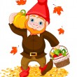 Stock Vector: Garden Gnome with harvest