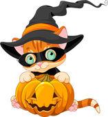 Cute Halloween Kitten — Stock Vector