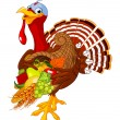 Turkey with cornucopia — Stockvectorbeeld