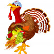Turkey with cornucopia — Image vectorielle