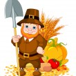 Stock Vector: Cute pilgrim with spade