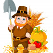 Cute pilgrim with spade — Stock Vector