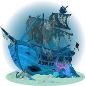 Old ship background — Vector de stock
