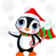 Cute Christmas penguin — Stock Vector
