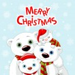 Christmas bear family greeting card — Cтоковый вектор