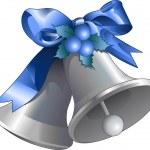 Silver Christmas Bells — Stock Vector