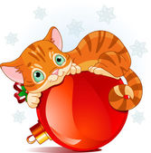 Christmas kitten — Stock Vector
