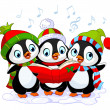 Stock Vector: Christmas carolers penguins