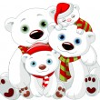 Big Polar bear family at Christmas — Stock Vector