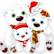 Big Polar bear family at Christmas — 图库矢量图片 #35885679