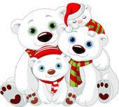 Big Polar bear family at Christmas — Stock Vector