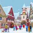 Stock Vector: Christmas shopping street