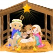 Holy Family at Christmas night — Stock Vector
