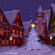 Christmas night at  town  — Imagen vectorial