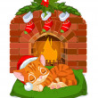 Christmas Kitten Sleeping near Fireplace — Stock Vector