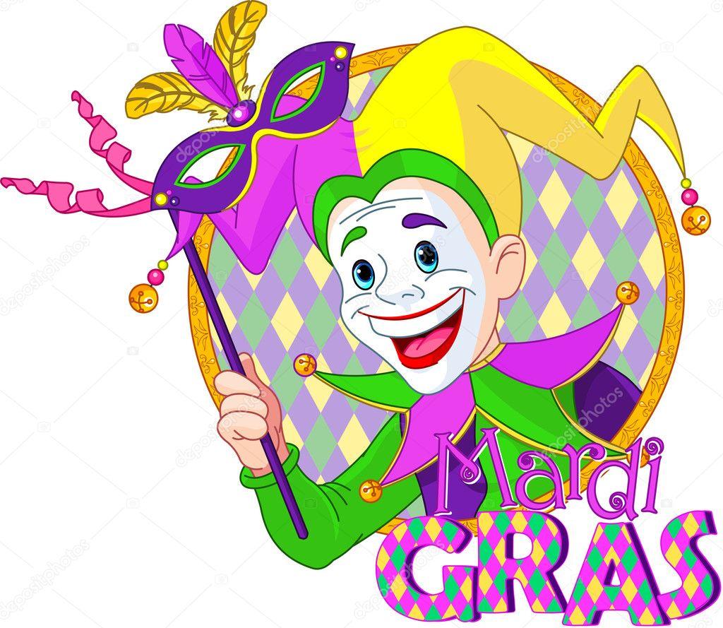 持有一个面具狂欢节小丑的卡通设计