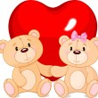 Vector de stock : Teddy bears in love