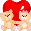 Teddy bears in love — Vector de stock